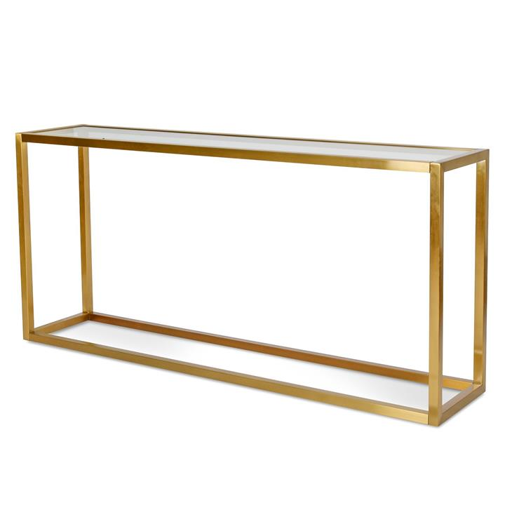Alison Glass Console Table - Tempered Glass - Brushed Gold Base by Interior Secrets - AfterPay Available
