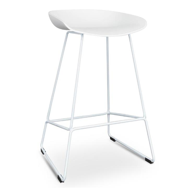 Allen 65cm Bar Stool - White Seat with White Metal Frame by Interior Secrets - AfterPay Available