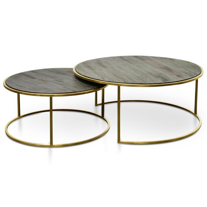 Alenzo Nest 76cm-96cm Coffee Table - Natural - Golden Base by Interior Secrets - AfterPay Available