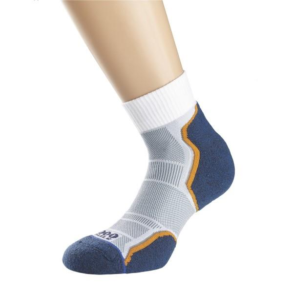 1000 Mile Breeze Anklet Mens Sports Socks - Double Layer Anti Blister - Grey/Navy/Orange Sock
