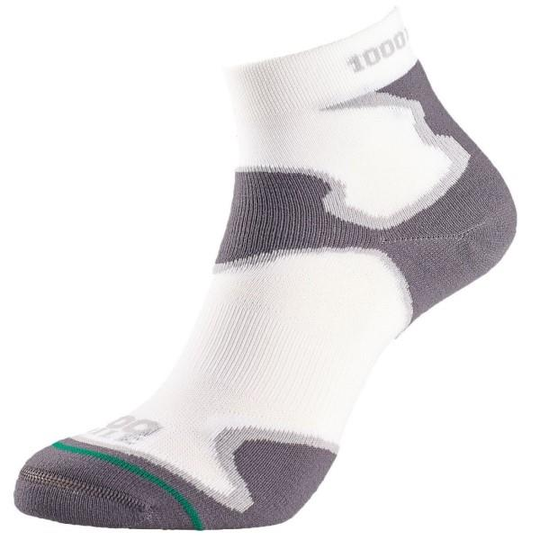 1000 Mile Fusion Anklet Mens Sports Socks - Double Layer, Anti Blister - White/Grey