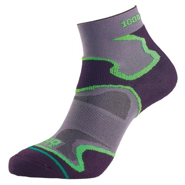 1000 Mile Fusion Anklet Womens Sports Socks - Double Layer, Anti Blister - Black/Green