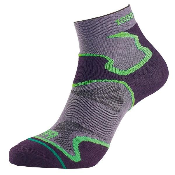 1000 Mile Fusion Anklet Mens Sports Socks - Double Layer, Anti Blister - Black/Green