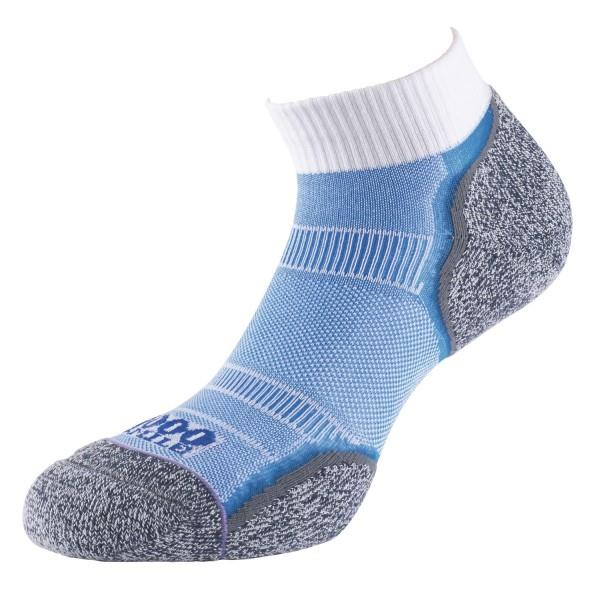 1000 Mile Breeze Anklet Womens Sports Socks - Double Layer, Anti Blister - White/Blue