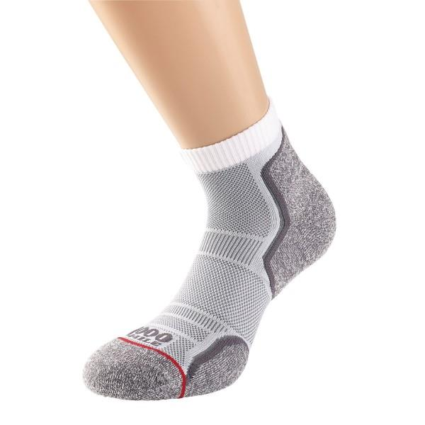 1000 Mile Run Anklet Mens Sports Socks - Twin Pack - White/Grey